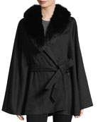Fur Shawl-Collar Wool-Cashmere Belted Cape Coat