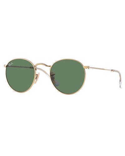 Solid Round Metal Sunglasses