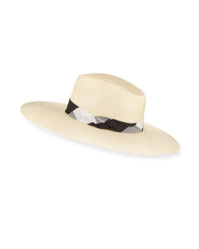 Wide-Brim Gingham-Band Panama Straw Hat