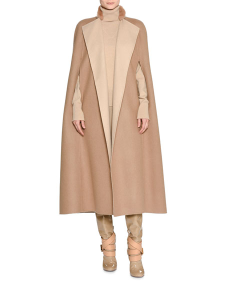 Agnona Double-Face Cashmere Cape with Fur Collar