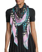 Flower Stems Large Square Scarf