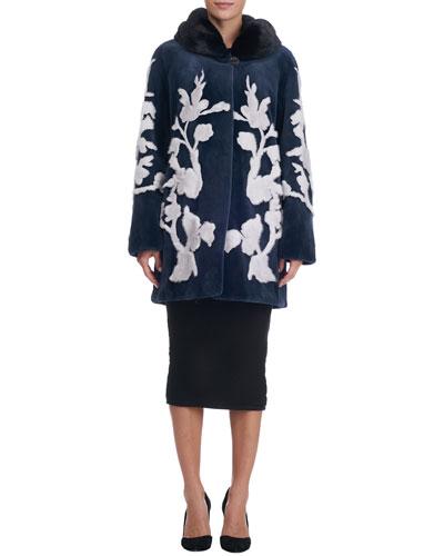 Floral-Intarsia Sheared Mink Stroller Coat