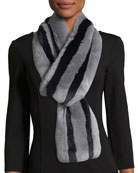 Monroe Striped Fur Scarf