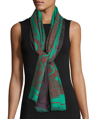 Reversible Double-Print Paisley Scarf