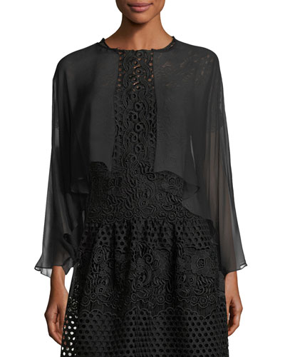 Open-Front Long-Sleeve Sheer Silk Shrug