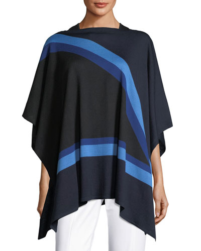 Intarsia-Knit Jersey Poncho
