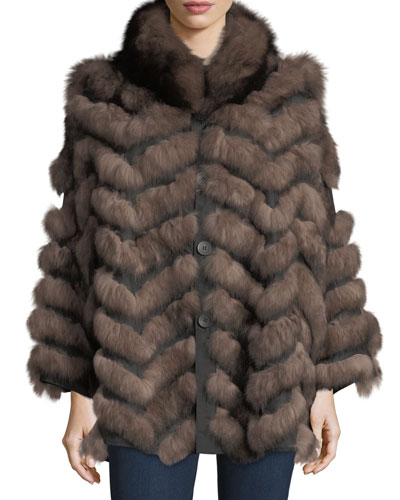 Reversible Fur-Trim Coat, One Size