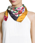 Floral Bouquet Silk Scarf