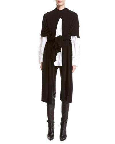 Split Wool-Cashmere Poncho
