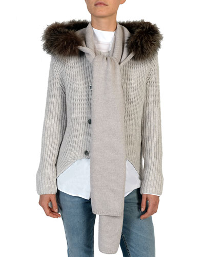 Fox Fur-Trimmed Wool Hooded Scarf