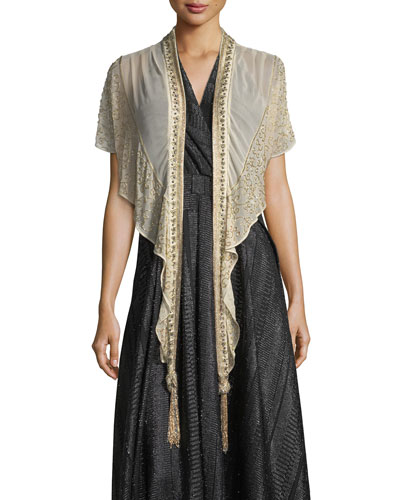 Galaxy Open-Front Beaded Chiffon Evening Wrap