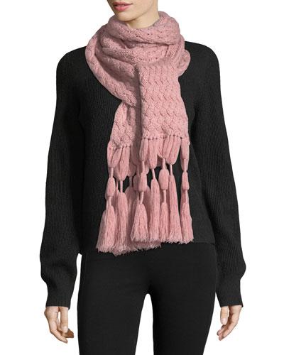 Knit Cashmere Scarf w/ Tassel Fringe, Rose