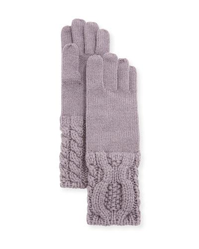 Knit-Cuff Cashmere Gloves
