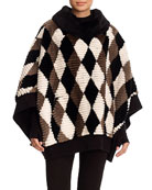 Diamond-Pattern Sheared Beaver Poncho with Wool-Cashmere Knit