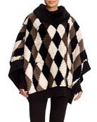 Diamond-Pattern Sheared Beaver Poncho with Wool-Cashmere Knit