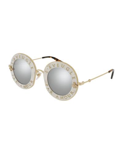 L'Aveugle Par Amor Round Mirrored Sunglasses