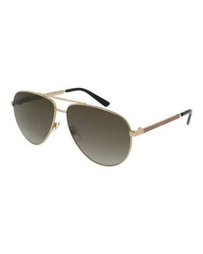 Metal Aviator Sunglasses w/ Web Trim