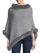 Seed-Stitched Cashmere Fox-Trim Poncho, Gray