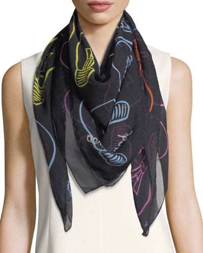 Silk Chiffon Square Light Bulbs Scarf, Multi