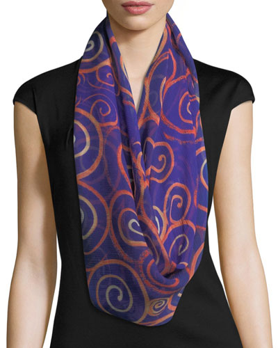 Silk Chiffon Square Spiral Swirl Scarf, Blue/Orange