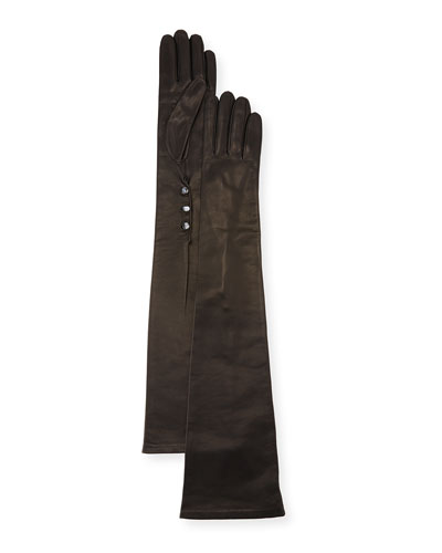 Button-Trim Napa Leather Gloves