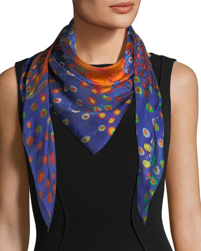 Cocky Square Silk Scarf, 100cm