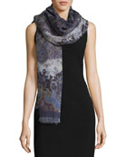 Maverick in Milan Wool Paisley Shawl, Navy