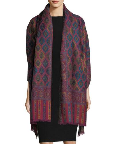 SABIRA Cosmo Clover Wool Shawl, Multi in Multi Pattern