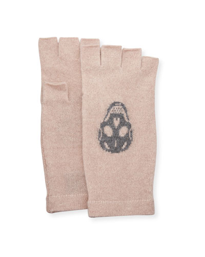Skull Fingerless Cashmere Gloves