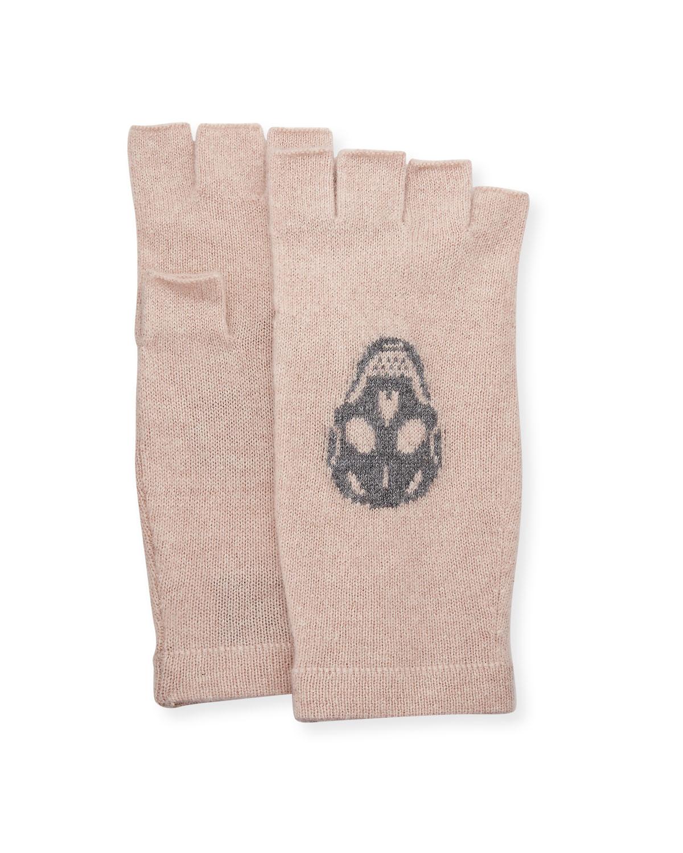 Skull Fingerless Cashmere Gloves