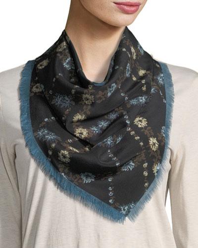 Square Lattice-Floral Silk Scarf