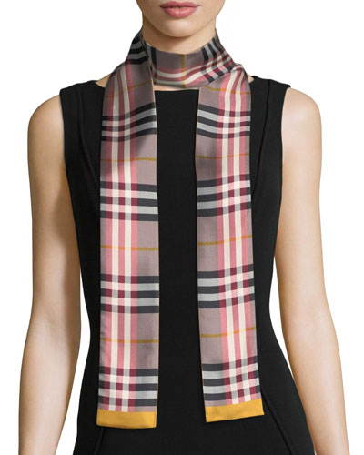 Castleford Check Silk Skinny Scarf, Rose