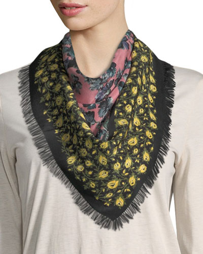 Square Patchwork-Floral Silk Scarf