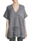 V-Neck Knit Poncho w/ Looped Yarn Trim