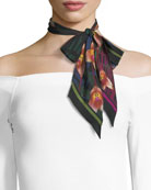 Monkey Orchid Super Skinny Silk Scarf, Black