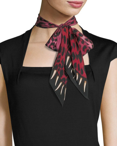 Leopard Teeth Super Skinny Silk Scarf, Pink