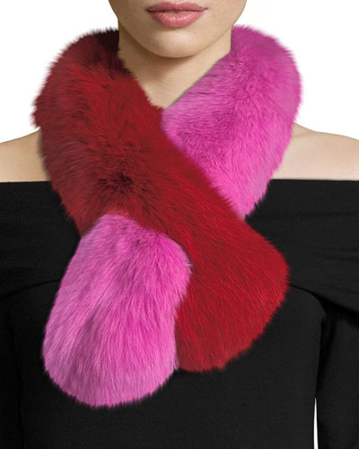Polly Pop Two-Tone Fur Pull-Through Scarf, Pink/Red