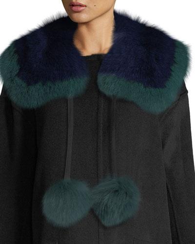 Puffalump Fur Neck Scarf w/ Pompoms, Blue/Green