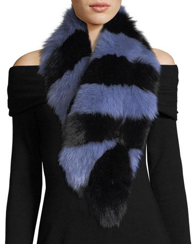 Popsicle Fur Scarf, Blue/Black
