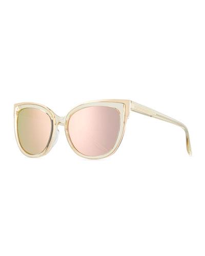 Winette Cat-Eye Sunglasses, Champagne Gold/Lavender