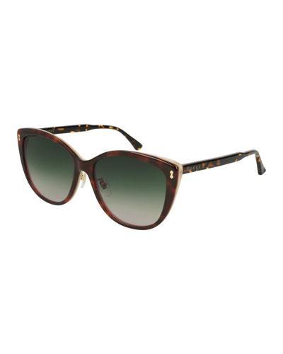 Contrast Acetate Cat-Eye Sunglasses, Brown Pattern