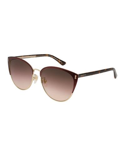 Gradient Semi-Rimless Cat-Eye Sunglasses, Red