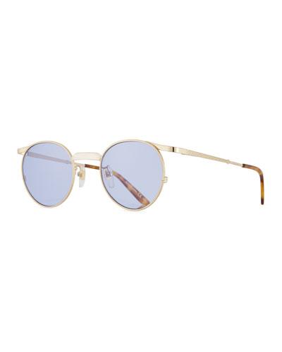 Coin-Edge Round Metal Sunglasses