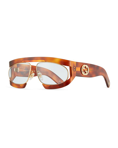 Acetate Rectangle Gg Sunglasses, Brown Pattern