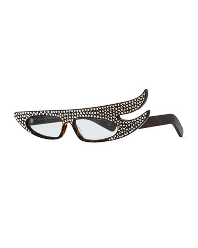 Acetate Angled Optical Frames w/ Crystals