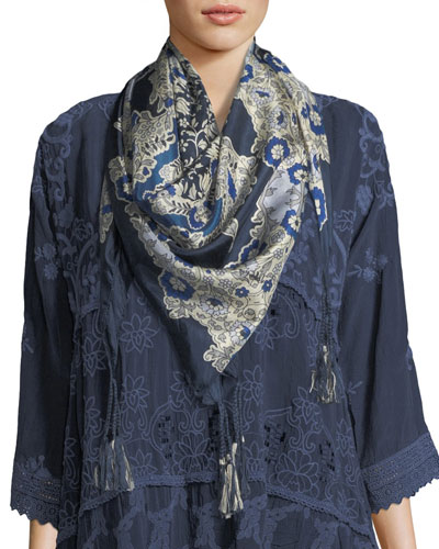 Wishing Floral-Print Silk Scarf
