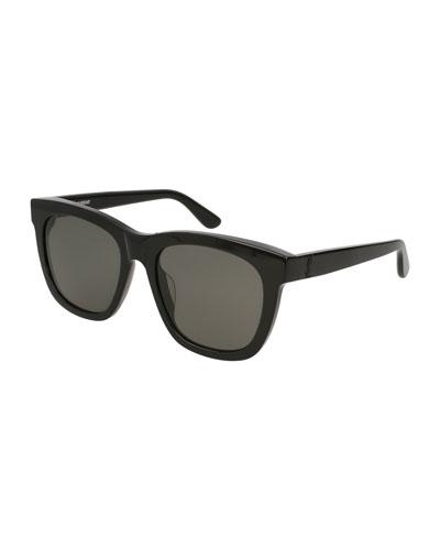 Unisex Square Acetate Sunglasses, Black
