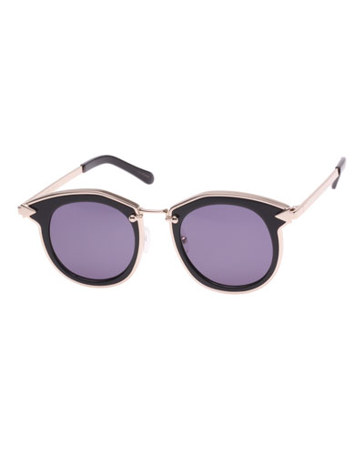 Bounty Two-Tone Round Sunglasses, Black