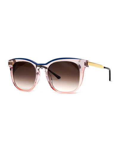 Pearly Two-Tone Acetate/Metal Square Sunglasses