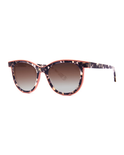 Vacancy Two-Tone Gradient Sunglasses, White Pattern